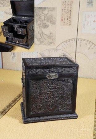 清  紫檀雕寿字纹官皮箱
