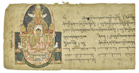 TWO ILLUMINATED PAGES FROM PRAJNAPARAMITA SUTRA MANUSCRIPTS  KASHMIR, 11TH/12TH CENTURY AND WEST TIBET, 13TH CENTURY