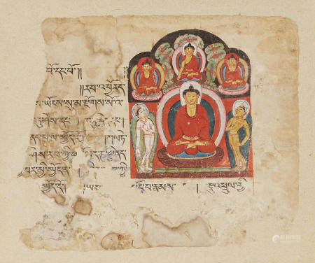 AN ILLUMINATED SUTRA PAGE WITH BUDDHA UNDERNEATH THE BODHI TREE  KASHMIR OR WEST TIBET, 12TH/13TH CENTURY