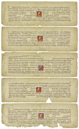 FIVE ILLUMINATED PAGES FROM A PRAJNAPARAMITA SUTRA  KASHMIR, 12TH/13TH CENTURY