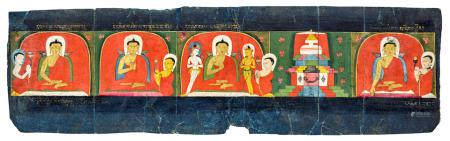 AN ILLUMINATED PAGE FROM A BHADRAKALPIKA SUTRA  TIBET, 13TH CENTURY