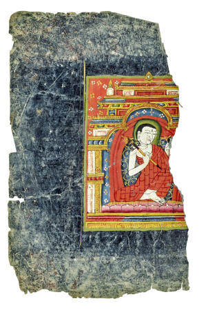 AN ILLUMINATED MANUSCRIPT PAGE WITH AN ARHAT  TIBET, 13TH CENTURY
