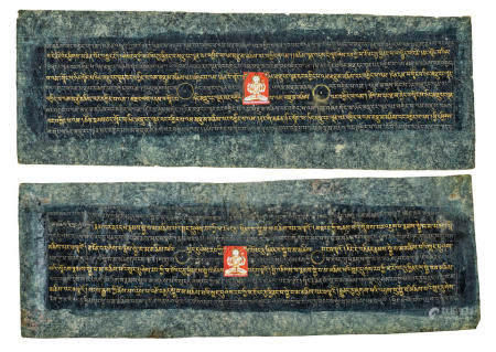 TWO ILLUMINATED SUTRA PAGES  TIBET, 13TH CENTURY