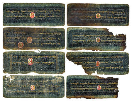 ELEVEN ILLUMINATED SUTRA PAGES  TIBET, CIRCA 13TH CENTURY