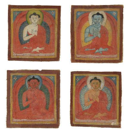 A GROUP OF FOUR BUDDHA TSAKALI TIBET, CIRCA 1300