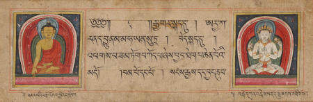 AN ILLUMINATED PAGE FROM A KANJUR MANUSCRIPT TIBET, 14TH/15TH CENTURY