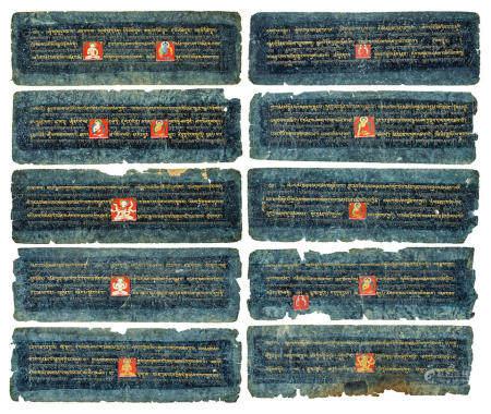 TEN ILLUMINATED SUTRA PAGES  TIBET, CIRCA 14TH CENTURY