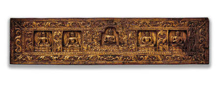 A GILT LACQUERED WOOD MANUSCRIPT COVER WITH THE FIVE PRESIDING BUDDHAS  TIBET, 14TH CENTURY