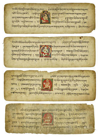 FOUR ILLUMINATED MANUSCRIPT PAGES ON TANTRIC PRACTICE  WEST TIBET, 14TH/15TH CENTURY