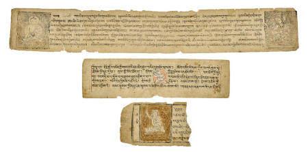 THREE ILLUMINATED SUTRA PAGES  TIBET, 15TH CENTURY
