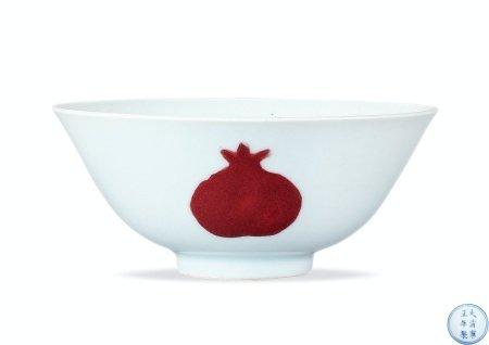 清雍正釉里红三多纹碗