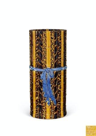清道光仿竹节绶带纹筒瓶