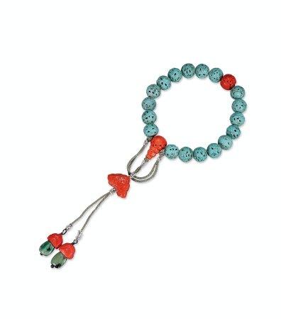 清松石绿釉透雕龙纹提珠