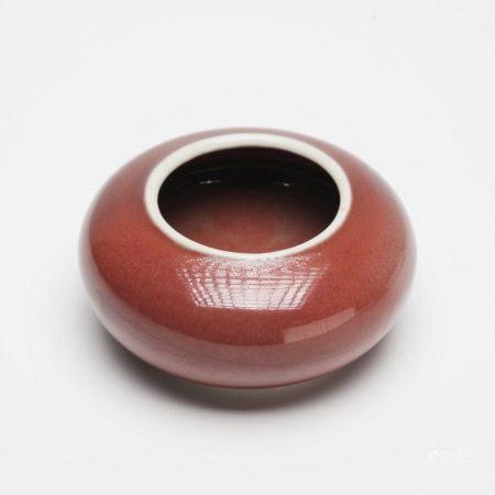 清乾隆祭红釉水盂 A rare red-glazed water bowl for sacrifice, Qianlong period, Qing Dynasty