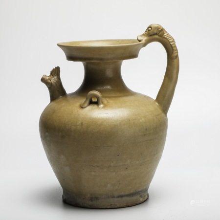 南北朝时期岳州窑青釉龙柄鸡首壶 A rare Yuezhou kiln green-glazed chicken head pot with dragon handle, Southern and Northern Dynasties period