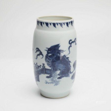 明崇祯青花麒麟芭蕉纹莲子罐 A rare blue and white kylin and banana pattern lotus seed jar, Chongzhen period, Ming Dynasty