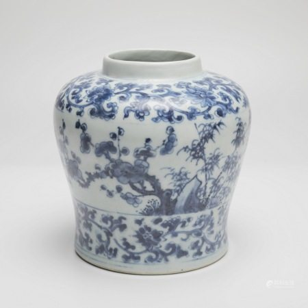清雍正松竹梅纹天字罐 A rare pine, bamboo and plum pattern sky-shaped jar, Yongzheng period, Qing Dynasty