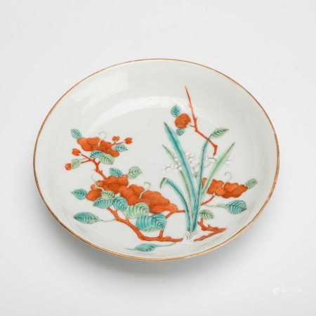 清光绪官窑粉彩兰花纹盘 A rare official kiln famille rose pattern plate, Guangxu period of Qing Dynasty