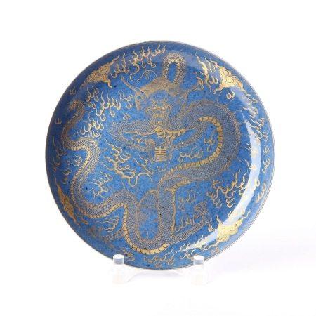 清康熙洒蓝描金龙纹盘 A rare blue and gold dragon pattern plate, Qing Dynasty