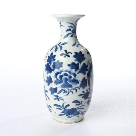 清光绪青花花鸟文房观音瓶 A rare blue and white flower and bird study Guanyin vase, Guangxu period, Qing Dynasty