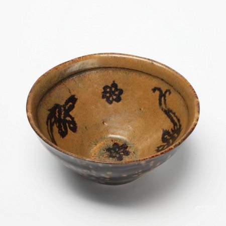 宋代吉州窑黑彩剪纸帖梅花双凤碗 A rare Jizhou kiln black colored paper-cut plum blossom double phoenix bowl, Song Dynasty