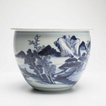 清康熙青花山水纹缸 A rare blue and white vase with landscape pattern, Kangxi period, Qing Dynasty