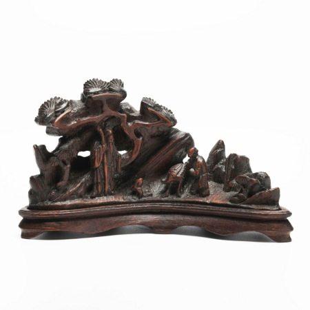 晚清竹雕 A pair of rare bamboo carvings, late Qing Dynasty