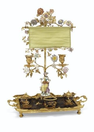 A LOUIS XV ORMOLU-MOUNTED MEISSEN, FRENCH PORCELAIN AND LACQUER ENCRIER