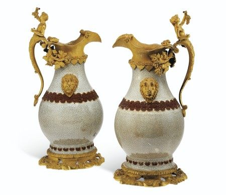 A PAIR OF RESTAURATION ORMOLU-MOUNTED CHINESE CRACKLE-GLAZED VASES MOUNTED AS EWERS