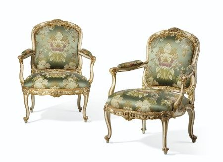 A PAIR OF LOUIS XV WHITE-PAINTED AND PARCEL-GILT FAUTEUILS