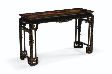 A CHINESE BROWN AND GILT LACQUER SIDE TABLE