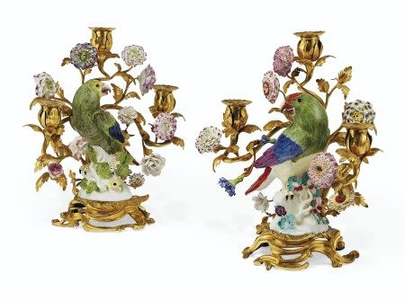 A PAIR OF LOUIS XV ORMOLU-MOUNTED MEISSEN PORCELAIN THREE-LIGHT CANDELABRA