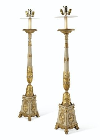 A PAIR OF ITALIAN GREY-PAINTED GILTWOOD AND GILT-COMPOSITION TORCHERES