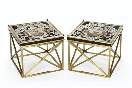 A PAIR OF ITALIAN INLAID MARBLE PANELS MOUNTED AS LOW TABLES