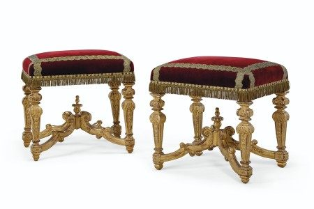 A PAIR OF NORTH EUROPEAN GILTWOOD TABOURETS