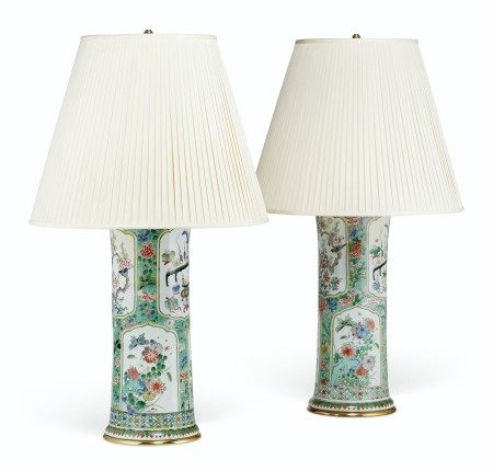 A NEAR PAIR OF LARGE CHINESE FAMILLE VERTE BEAKER VASES, MOUNTED AS LAMPS