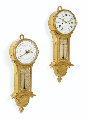 A LOUIS XVI MATCHED ORMOLU CLOCK AND COMPANION BAROMETER