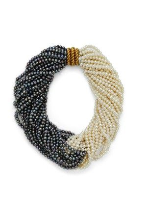 A MULTI-STRAND CULTURED PEARL AND GOLD NECKLACE