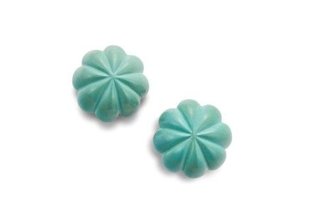 A PAIR OF TURQUOISE EAR CLIPS