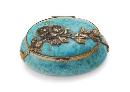 A CONTINENTAL GILT-METAL-MOUNTED TURQUOISE BOX