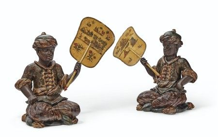 A PAIR OF NORTH ITALIAN POLYCHROME-PAINTED AND LACCA POVERA FIGURES