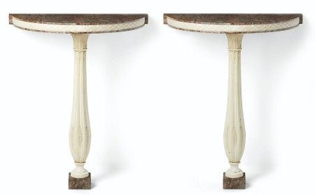 A PAIR OF ITALIAN WHITE AND RED-FIGURED MARBLE CONSOLES