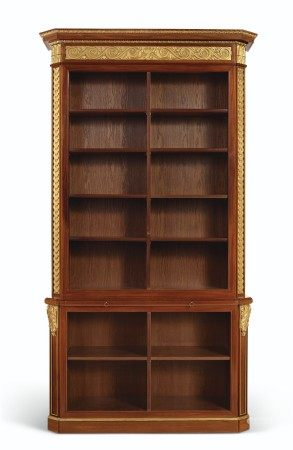 A PAIR OF FRENCH MAHOGANY AND PARCEL-GILT BOOKCASES