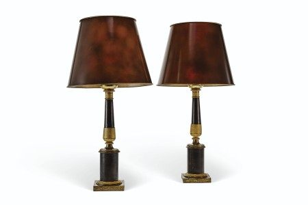 A PAIR OF RESTAURATION ORMOLU AND PATINATED-BRONZE LAMPS