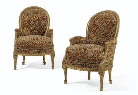 A PAIR OF LATE LOUIS XV GILTWOOD BERGERES