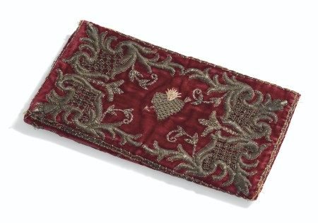 A LOUIS XV VELVET AND METALLIC THREAD EMBROIDERED BOOK COVER