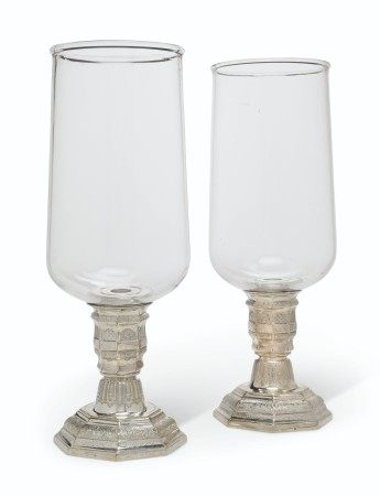 A PAIR OF REGENCE SILVERED-BRASS PHOTOPHORES