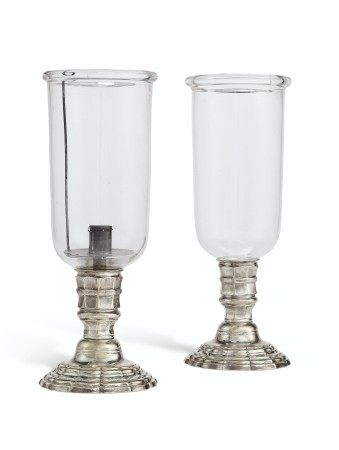A PAIR OF FRENCH SILVERED-BRASS PHOTOPHORES