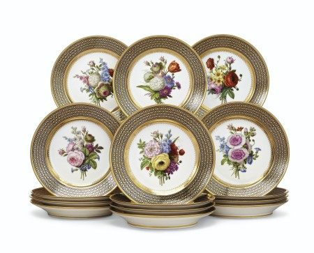 A SET OF FIFTEEN SEVRES PORCELAIN 'BEAU BLEU' DESSERT PLATES FROM A SERVICE GIVEN BY CHARLES X TO SIR THOMAS LAWRENCE