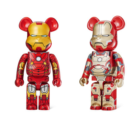 "2013年作;2015年作 BE@RBRICK 1000% Iron Man Mark VII、Iron Man Mark XLII""Damage"" (两件一组) PVC"